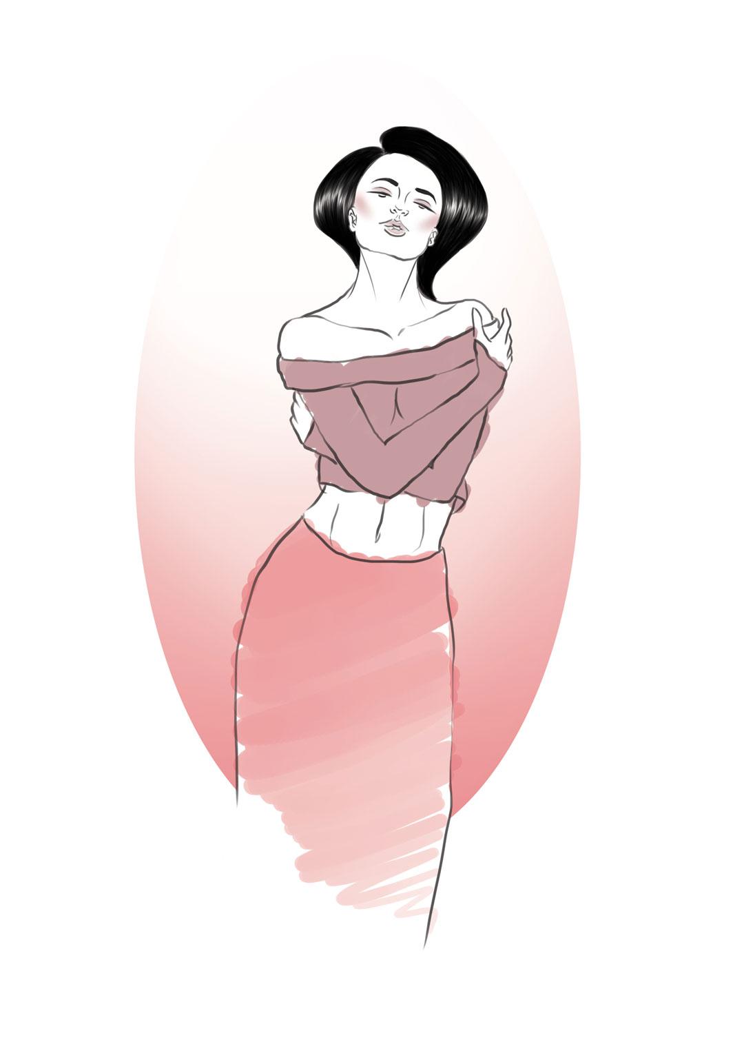 Fashion Illustration Sketch by Kaori Yorado